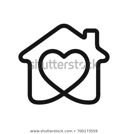 Domu miłości serca symbol vintage stylu Zdjęcia stock © winnond