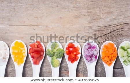 green red yellow pepper onion and mushrooms diced stock photo © pixelsaway