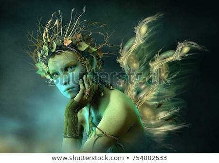Zöld tündér képek nő fekete csepp Stock fotó © Inferno