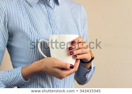 女性 縞模様の シャツ 赤 ストックフォト © RuslanOmega