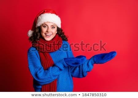 csinos · nő · mikulás · kalap · magasra · tart · bevásárlótáskák · fehér - stock fotó © nobilior