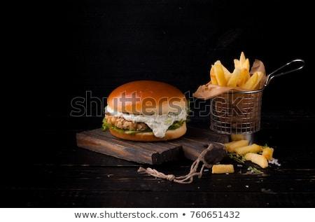 魚 自家製 ハンバーガー レタス 全粒粉パン 赤 ストックフォト © zhekos