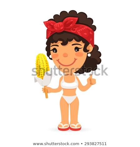 Femme bouilli maïs isolé blanche Photo stock © Voysla