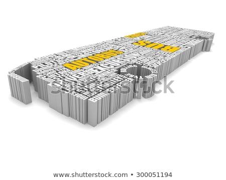 3d group of orange white words shaping a passenger bus Stock photo © vipervxw