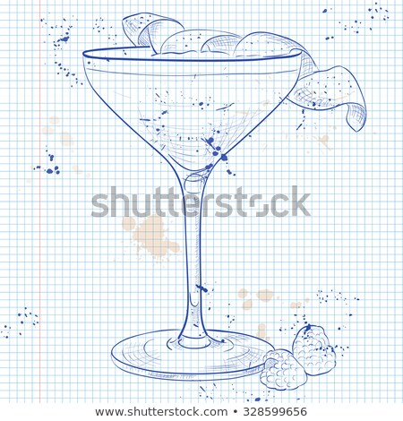 Clover Club Cocktail on a notebook page Stock photo © netkov1