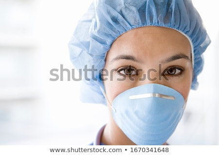 деловой · женщины · маске · портрет · белый · молодые - Сток-фото © andersonrise