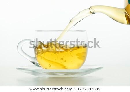 Yeşil çay fincanı yalıtılmış beyaz kahve arka plan Stok fotoğraf © vapi