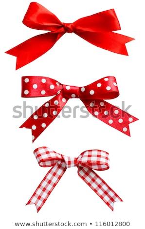 Piros íj fehér szalag karácsony rajz Stock fotó © zybr78