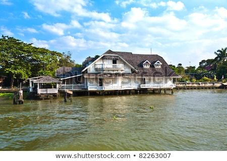 Typisch houten huis rivier Bangkok hemel Stockfoto © meinzahn