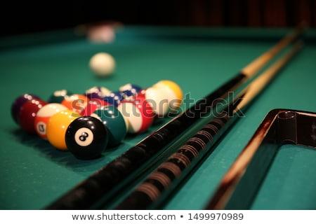 Biliárd zöld asztal golyók kezdet pozició Stock fotó © simply