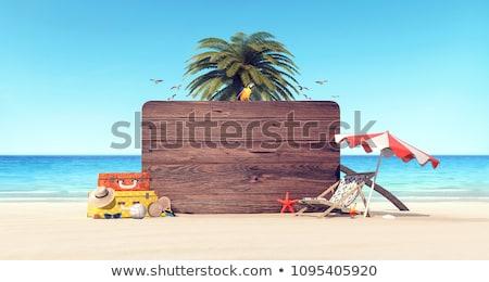 приют · Председатель · пляж · синий · желтый · пейзаж - Сток-фото © naumoid
