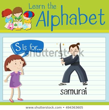 Brief samurai illustratie achtergrond kunst onderwijs Stockfoto © bluering