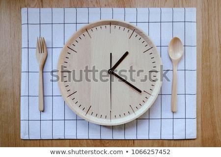 Zegar drewniany stół finansów słowo ceny tle Zdjęcia stock © fuzzbones0