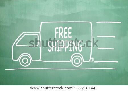 ücretsiz gönderim yazılı tahta imzalamak yazı gemi Stok fotoğraf © Zerbor