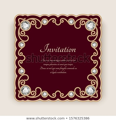 red wedding invitation with luxury golden lace in corner and damask pattern inside of the card stock photo © liliwhite