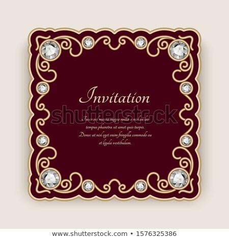 Roşu invitatie de nunta lux dantelă colţ Imagine de stoc © liliwhite