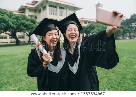 érettségi szertartás kettő diákok illusztráció férfi Stock fotó © bluering