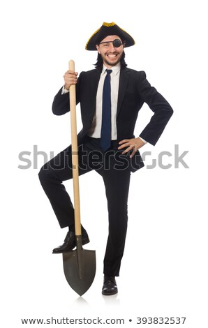Pirate businessman holding spade isolated on white stock photo © Elnur