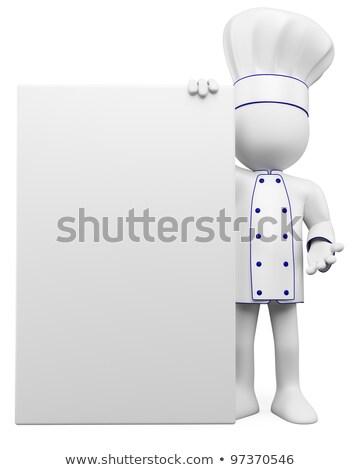receta · 3D · pequeño · humanos · carácter · chef - foto stock © orla