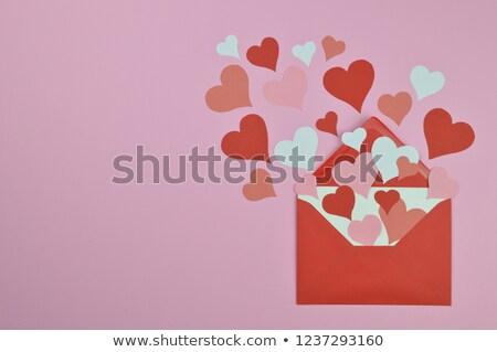 Piros boríték fehér papír szív szeretet Stock fotó © Genestro