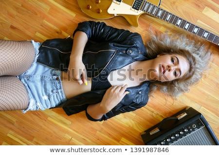 retro · nő · zenész · gitáros · klasszikus · régi · tapéta - stock fotó © nicoletaionescu