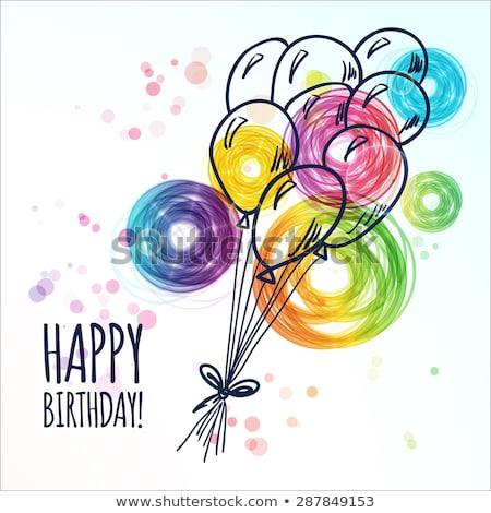 Boldog születésnapot szín klasszikus képeslap vektor kézzel rajzolt Stock fotó © Decorwithme