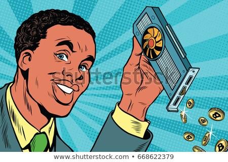 ビデオ · カード · bitcoinの · ポップアート · レトロな - ストックフォト © studiostoks