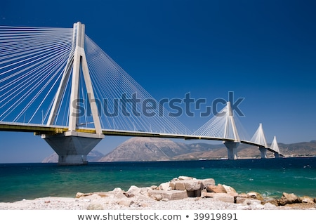 Cable-stayed suspension bridge crossing Corinth Gulf strait, Greece Stock photo © ankarb