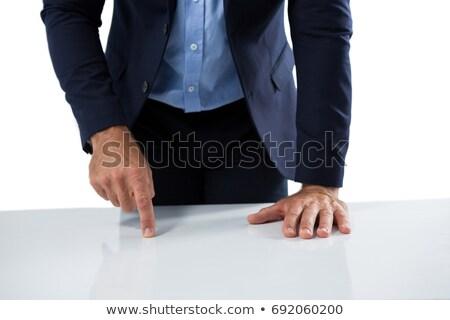 Zakenman aanraken onzichtbaar scherm houten tafel business Stockfoto © wavebreak_media
