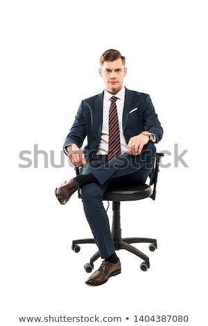 Empresário sessão cadeira retrato jovem Foto stock © filipw