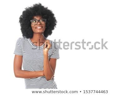 Schönen expressive Studenten Geschäftsfrau Bleistift aus Stock foto © feverpitch