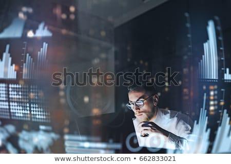 Işadamı dokunmak sanal bulut projeksiyon iş adamları Stok fotoğraf © dolgachov