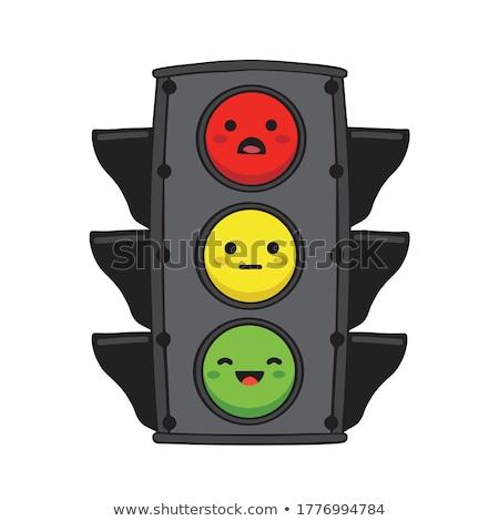 Yalıtılmış sarı trafik sinyal ışık beyaz Stok fotoğraf © njnightsky