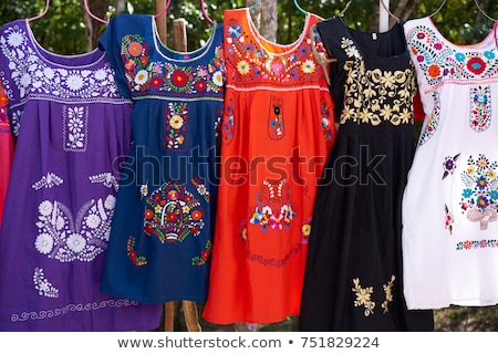Embroidered Mayan dresses in Mexico Stock photo © lunamarina