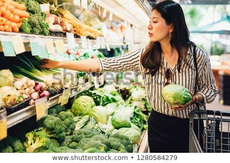 nő · vásárol · friss · zöldségek · mosolyog · fiatal · nő · vásárlás - stock fotó © is2
