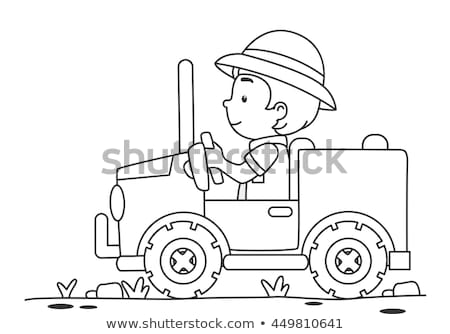 Gyerek fiú szafari dzsip szín oldal Stock fotó © lenm