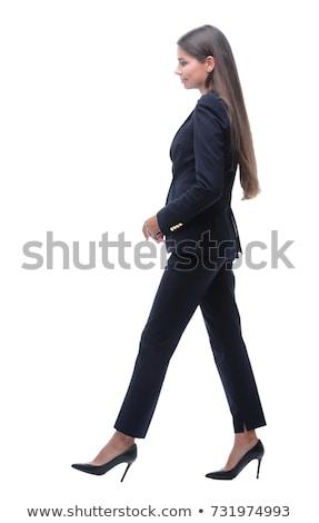 Genç gülen iş kadını yürüyüş ileri beyaz Stok fotoğraf © feedough