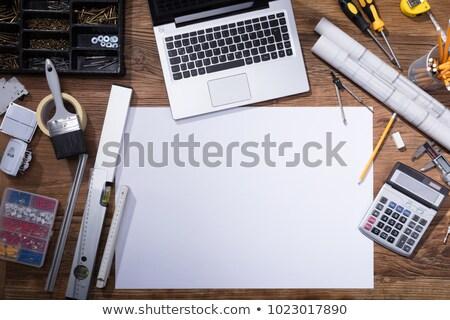 Plakát laptop fából készült asztal magasról fotózva kilátás Stock fotó © AndreyPopov