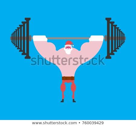 Sterke kerstman barbell druk christmas fitness Stockfoto © MaryValery