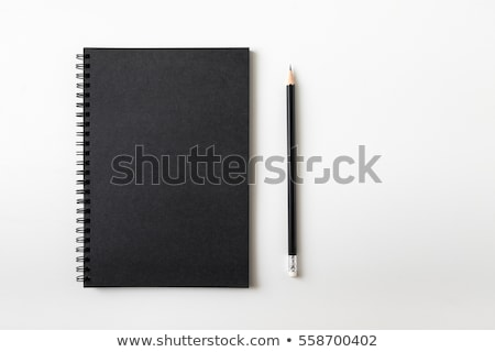 Foto stock: Preto · fechado · caderno · caneta · isolado · branco