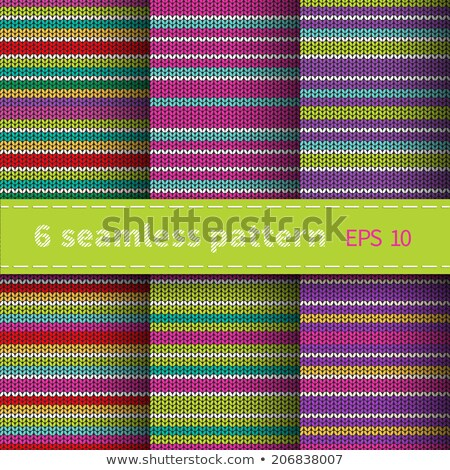 seamless knitted pattern set of blue red orange white color backgrounds stock photo © essl