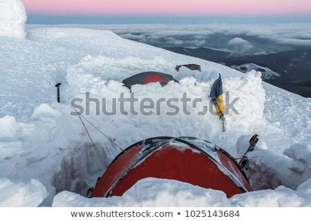 ストックフォト: 2 · 山 · 日の出 · 山 · ウクライナ · 雪