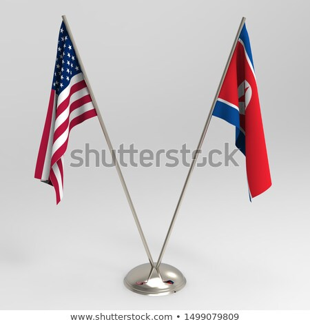 Two waving flags of North Korea and USA Stock photo © MikhailMishchenko