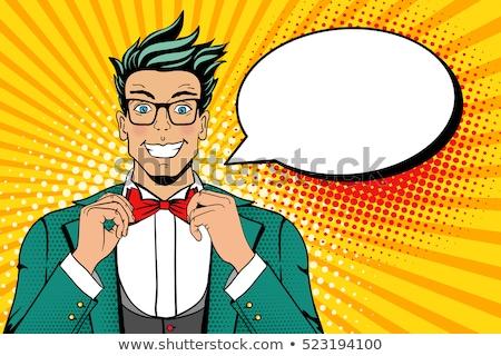 Cartoon · бизнесмен · мысли · пузырь · ретро · текстуры · изолированный - Сток-фото © studiostoks