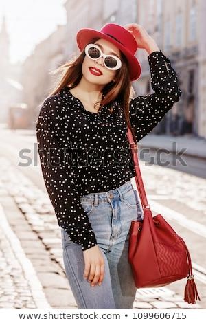 Portret radosny kobieta kolorowy ubrania talia Zdjęcia stock © feedough