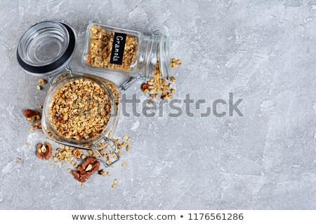 oat flakes in glass jar stock photo © melnyk