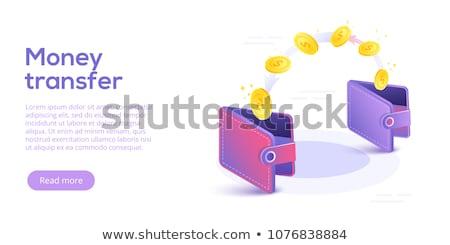 Transferência de dinheiro imagem telefone móvel laptop isométrica Foto stock © Genestro