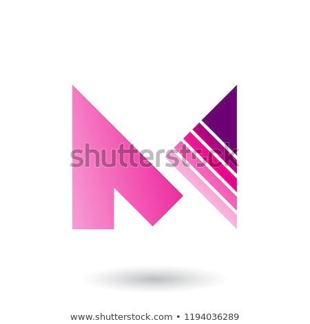Magenta Letter M with a Diagonally Striped Triangle Vector Illus Stock photo © cidepix