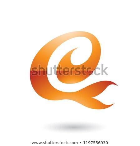 Orange Glossy Curvy Fun Letter E Vector Illustration Stock photo © cidepix
