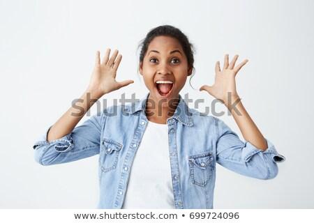 vrolijk · brunette · vrouw · shirt · jas - stockfoto © deandrobot